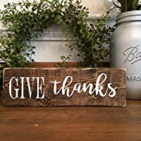 Give Thanks Wooden Farmhouse Small Standing Block Sign 8 inches x 2 inches