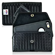 Law Enforcement Rugged Police Basketweave Genuine Leather Horizontal Duty Belt Case with Snap closure fits LG G5 with an Otterbox Defender Case