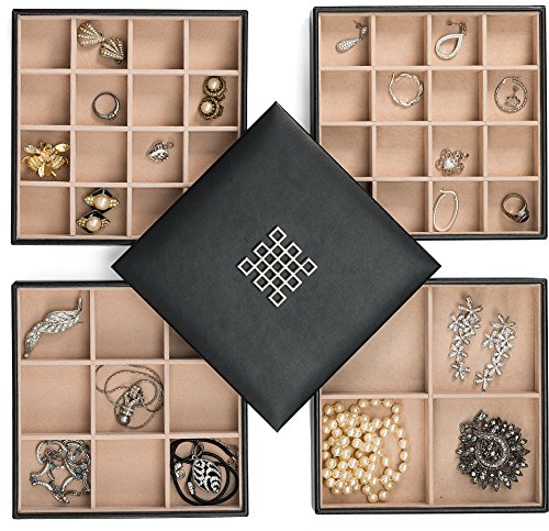 Glenor Co Earring Organizer Tray - 4 Stackable Trays with Lid -45 Slot Classic Jewelry Storage Display Case for Drawer or Dresser - Holder for Earring Ring Necklace or Cufflinks - Large Mirror - Black - Covered Jewelry Box