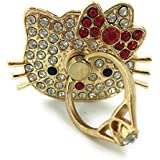 Universal 360° Rotating Finger Ring Stand Holder Kick Stand For Mobile Phone Anti Drop Table Mount (Hello Kitty Red Bow)