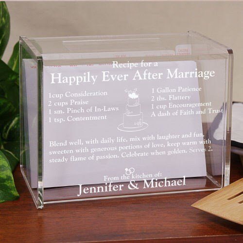 Engraved Happily Ever After Acrylic Recipe Box, Holds 350 4