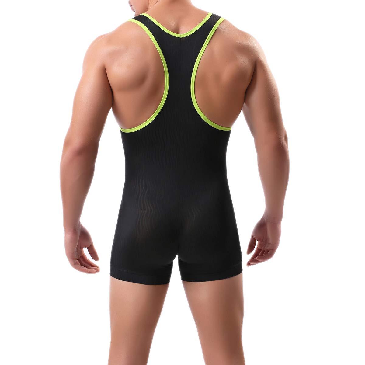 Mens Suspenders Wrestling Singlet Leotard Thong Bodysuit Jumpsuit Briefs Swimwear