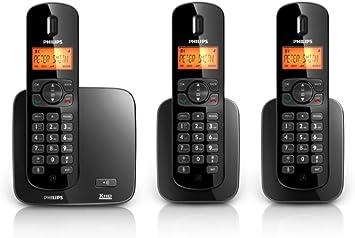 Philips Teléfono TRIO: Tres Teléfonos inalámbricos Serie 1000 CD1703B negro y plateado: Amazon.es: Electrónica