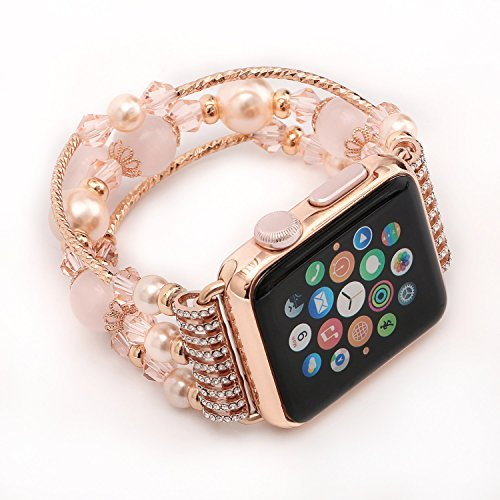 JOMOQ Apple Watch 3 Band, Fashion Sports Beaded Bracelet Replacement iWatch Strap Band For Women Girls, Apple Watch 3/2/1 Series Bands 38mm/42mm