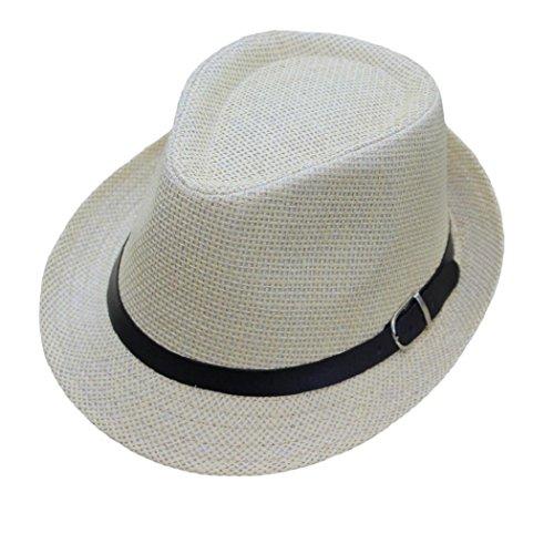 ShenPourtor Men/Women's Summer Panama Style Trilby Fedora Straw Sun Hat with Leather Belt (Beige)