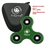 Fidget Spinner by Fidgetrix - ADHD, Anti-Anxiety 3D Fidget Toy with Ceramic Bearing and 360 degree high speed rotation – Best Stress Reduces for Kids and Adults (Green and Case)