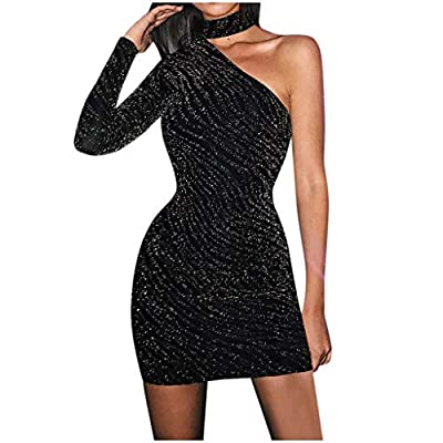 Muranba Womens One Shoulder Dress Sleeveless Black Bandage Evening Cocktail Sleeve Neck Party Solid Sexy Slim