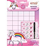 The Home Fusion Company Childrens Girls Pink Unicorn & Emoji Reward Chart Dry Wipe Pen + Stickers