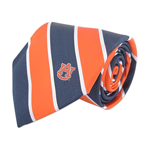 NCAA Auburn Tigers Mens Woven Silk Repp Stripe Collegiate Logo Tie 1, Navy and Orange, One Size