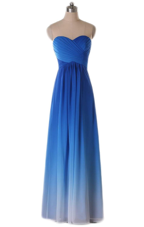 Ikerenwedding Women's A-Line Sweetheart Ruffle Empire Chiffon Backless Zipper Floor Length Evening Dress