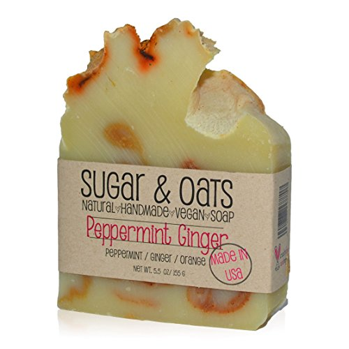 (Ginger Peppermint Vegan Soap, Sugar and Oats, Spa Luxury Soap (Refreshing Peppermint Ginger Luxury Soap) Clean, Palm Free/Cruelty Free Bar Soap 5.5 oz Handmade Cold Process Skincare. Made in USA)