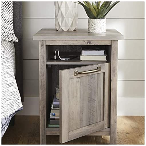Bedroom Better Homes & Gardens Modern Farmhouse End Table Nightstand with USB, Rustic Gray Finish farmhouse nightstands