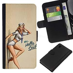LECELL--Cuero de la tarjeta la carpeta del tirón Smartphone Slots Protección Holder For Sony Xperia Z1 L39 -- Pin Up Girl Sexy --