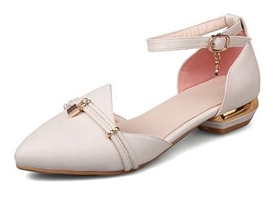 66460b8637a SFNLD Women s Sweet Rhinestone Pointed Toe Ankle Strap Low Heels Pumps  Sandals Beige 4 B(