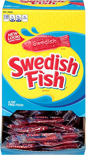 Individual packages of Swedish Fish candy