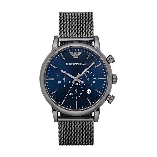 chollos oferta descuentos barato Emporio Armani Reloj Cronógrafo para Hombre de Cuarzo con Correa en Malla de Acero Inoxidable AR1979