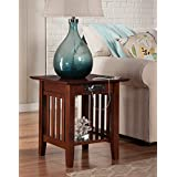 Atlantic Furniture AH14214 Mission End Table Rubber Wood, Walnut