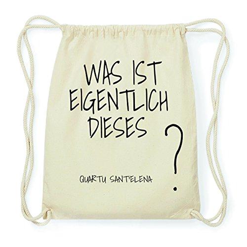 JOllify QUARTU SANTELENA Hipster Turnbeutel Tasche Rucksack aus Baumwolle - Farbe: natur Design: Was ist eigentlich