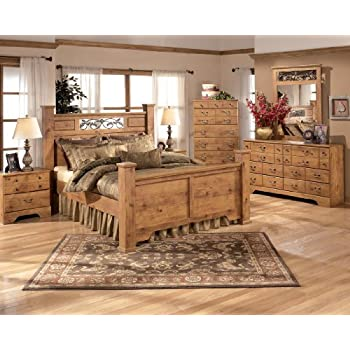 ashley bittersweet queen bedroom set with poster bed dresser mirror and nightstand in light