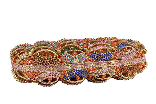 Yilongsheng Las mujeres de color rhinestones parte de embrague bolso Multicolor