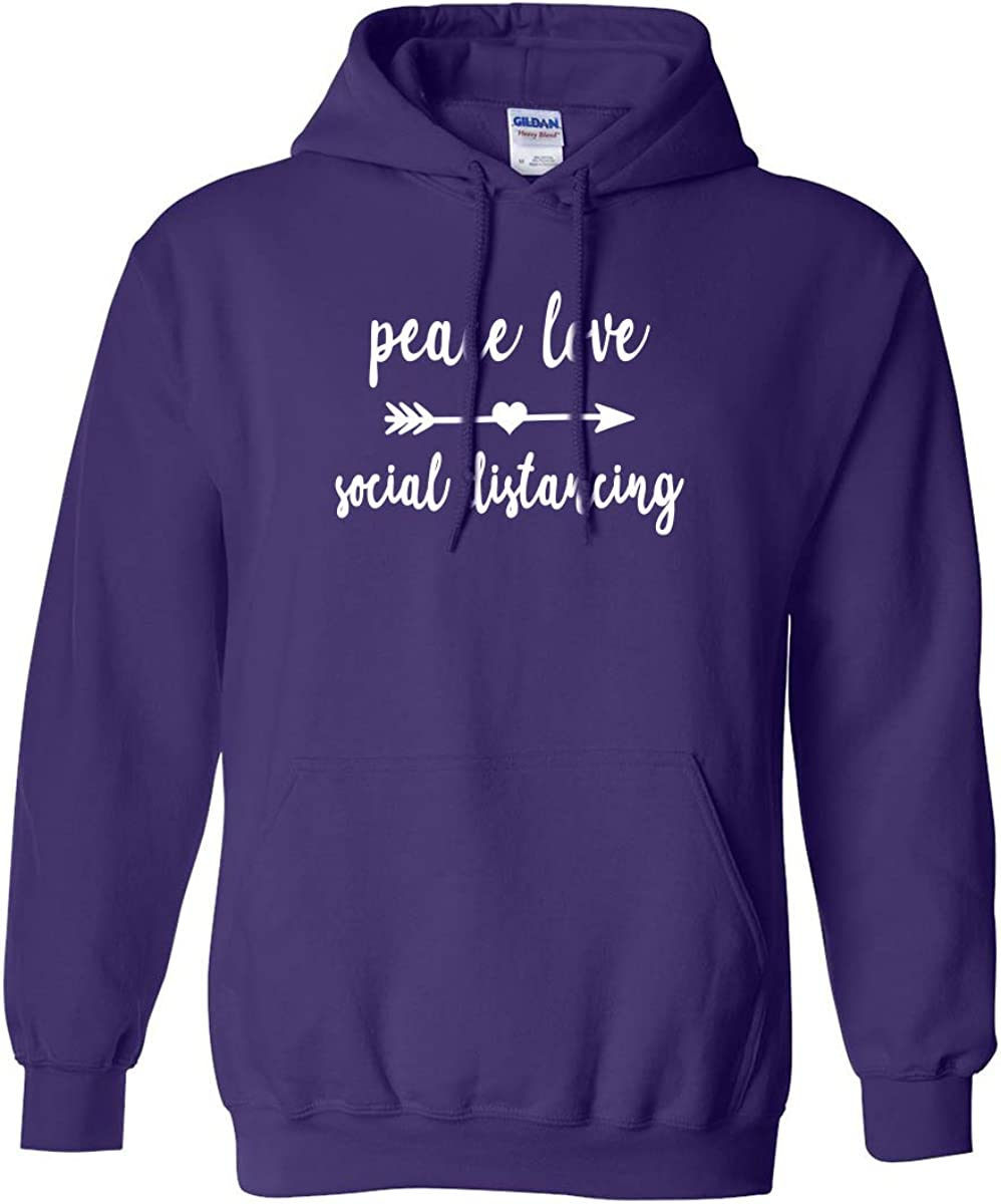 Peace Love Social Distancing Adult Hooded Sweatshirt