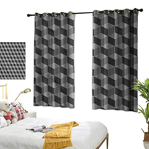G Idle Sky Fashion Curtain Black and White Children's Bedroom Curtain Monochrome Cube 55