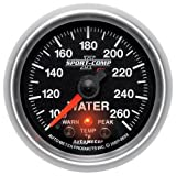 Auto Meter 7655 Sport-Comp II 2-5/8'' 100-260 Degree F Full Sweep Electric Water Temperature Gauge with Peak Memory and Warning