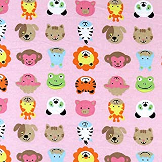 product image for SheetWorld 100% Cotton Flannel Fabric by The Yard, Animal Faces Pink, 36 x 44