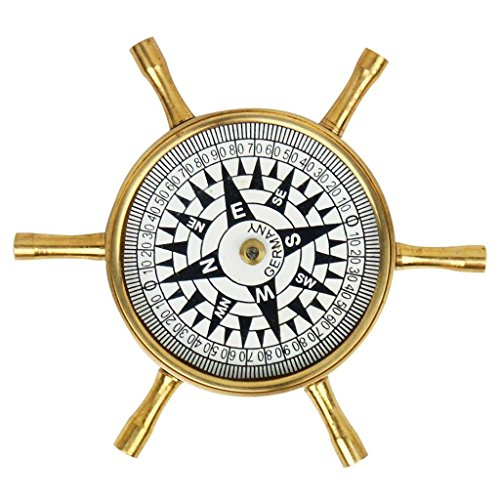 Zap-Impex-Wheel-Design-Pure-Brass-Real-Compass-Key-Chain-4-Nautical-Gift