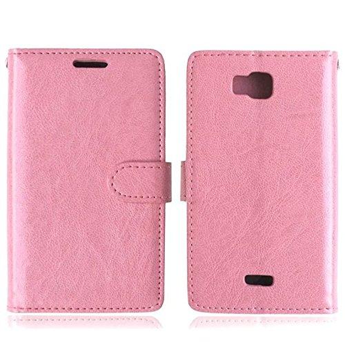 SRY-Conjuntos de teléfonos móviles de Huawei Funda de cuero superior de la PU de Huawei Y541, cubierta sólida de la cubierta del silicón de la caja de la carpeta del tirón para Huawei Y541 Proteja com Pink