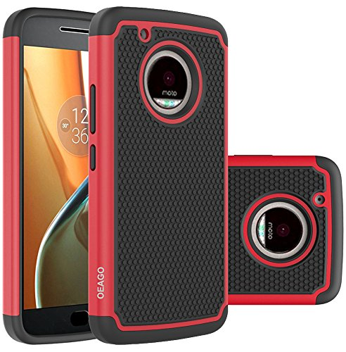 Moto G5 Plus Case, Moto G Plus (5th Generation) Case, OEAGO [Shockproof] [Impact Protection] Hybrid Dual Layer Defender Protective Case Cover for Motorola Moto G5 Plus / Moto G Plus (5th Gen) - Red