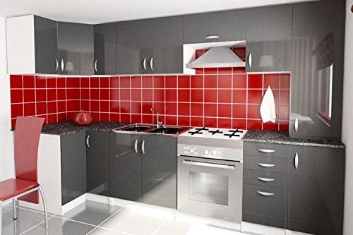 Cocina completa en esquina de 310 cm, Oxane, color gris: Amazon.es: Hogar
