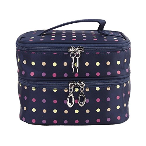 niceEshopTM-Double-Layer-Multicolor-Polka-Dot-Cosmetic-Bags-Toiletry-Makeup-Handbags-with-4-Zippers