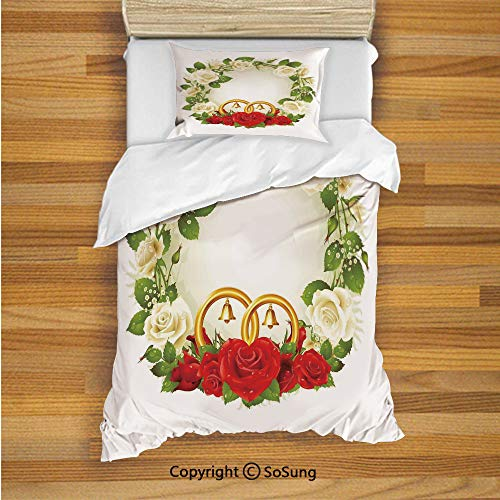 (SoSung Wedding Decorations Kids Duvet Cover Set Twin Size, Frame with White and Red Roses and Stylized Wedding Rings Romance 2 Piece Bedding Set with 1 Pillow Sham,White Green Red)