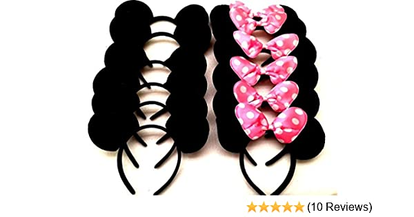 24 pc Minnie Mouse Ears Headbands Black w Red polka Bow Mickey Party Birthday