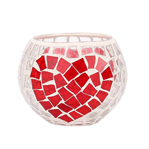 MEANIT Glass Candle Holders, Decorative Candle Lantern/Tealight Candle Hoders for Dinning Room