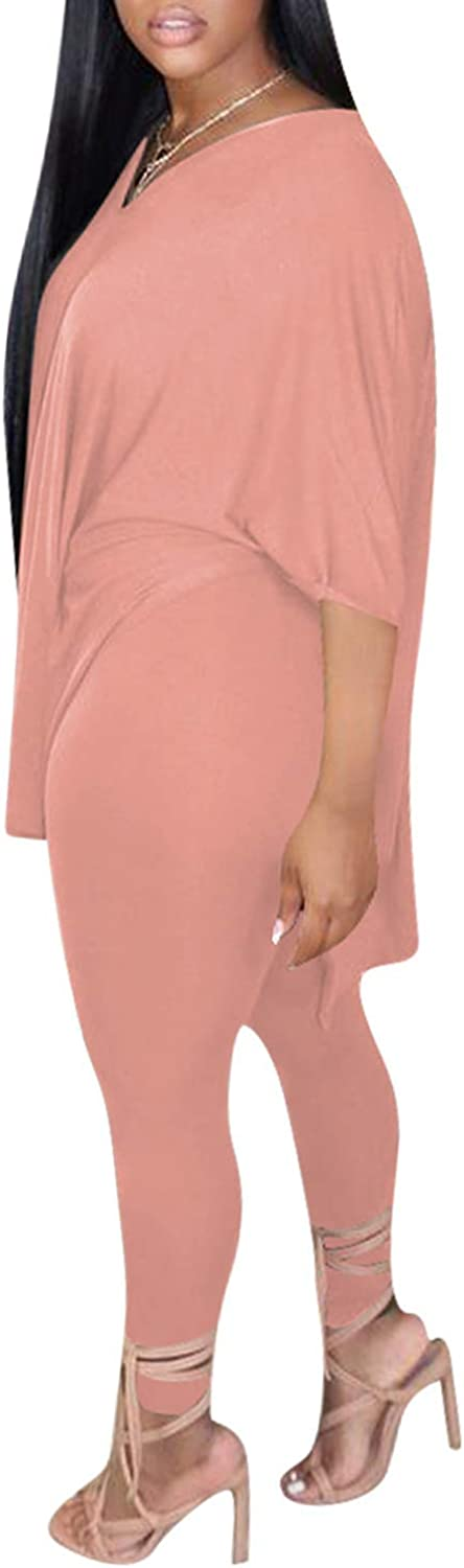 Women 2 Piece Outfit Sets Casual Oversized V Neck T-Shirt Tops Bodycon Long Pants Workout Sports Tracksuit
