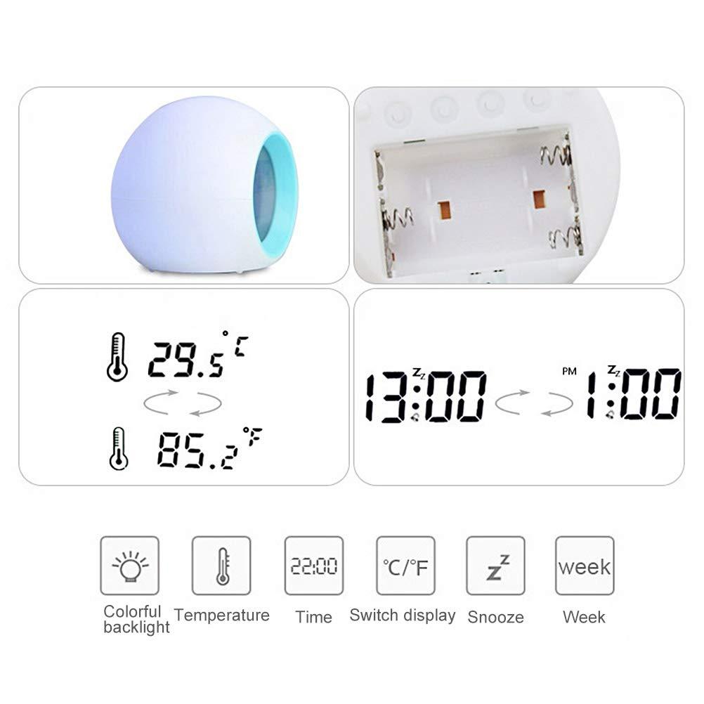 Mekta LED Bunter Farbwecker Nat/ürlicher Klang Uhr kreative elektronische Uhr Lichtwecker Kinder Wecker Student Wake Up Digitaluhr 7 Farbwechsel Nachtlicht Uhr