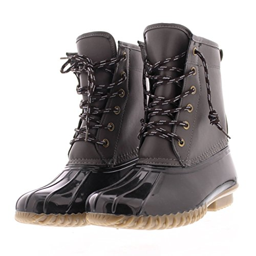 Weather Combat Waterproof Rain Outsole up Lace Women's Quack Rubber with Boot Gold Grey Duck All Traction Toe zxRYtB