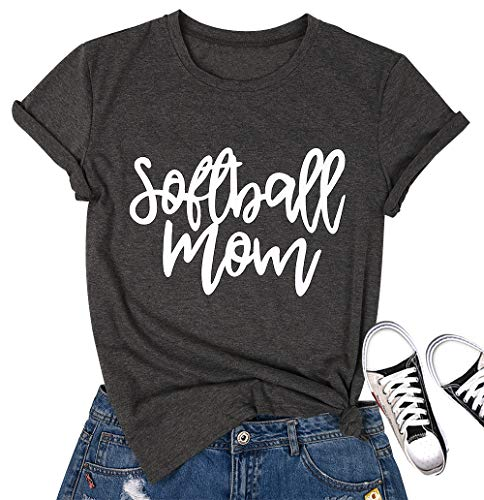 MOUSYA Softball Mom T-Shirt, [Letter Printed][Round Neck][Short Sleeve] Casual Tee Shirt for Women, Gray Size M ()