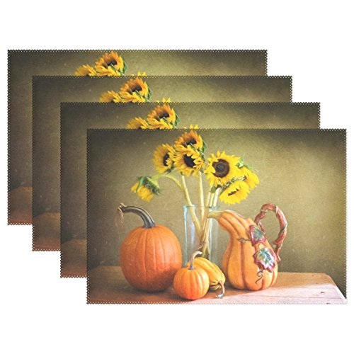 YPink Still Life Still-life Autumn Fall Pumpkins Placemats Set Of 4 Heat Insulation Stain Resistant For Dining Table Durable Non-slip Kitchen Table Place Mats ()