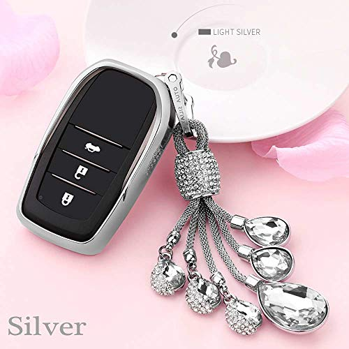 (Auto Key case TPU Soft Cover case for Toyota Highlander Land Cruiser Riez RAV4 Camry Prado Crown Corolla Handmade Waven Keychain Color Name Silver-Crystal)