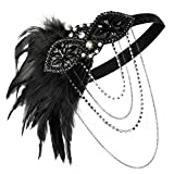 Zivyes 1920s Flapper Headband Great Gatsby Accessories Fascinator with Feathers 20s Headpiece