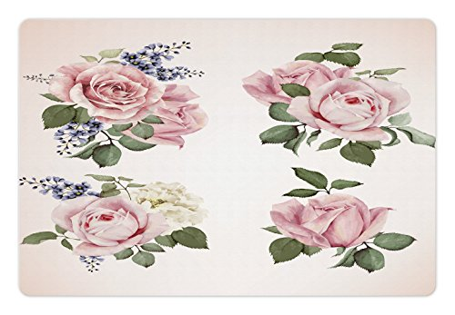 Lunarable Vintage Pet Mat for Food and Water, Vintage Country Style Floral Roses Wreath Bouquet and Corsage Wildflowers Design, Rectangle Non-Slip Rubber Mat for Dogs and Cats, Pastel Pink