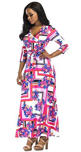 Aecibzo Femmes Faux Imprimé Floral Bohème Paris Wrap Maxi Robes Longues Avec Ceinture Rouge Floral