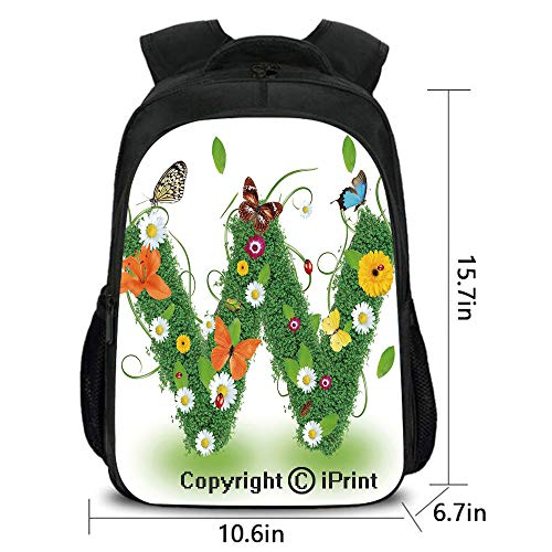 Comfortable breathable Backpack,Nature Inspired Green Foliage with Wildflowers Various Butterflies Vivid Palette Decorative,School bag :Suitable for men and women,school,travel,daily use,etc.Multicolo