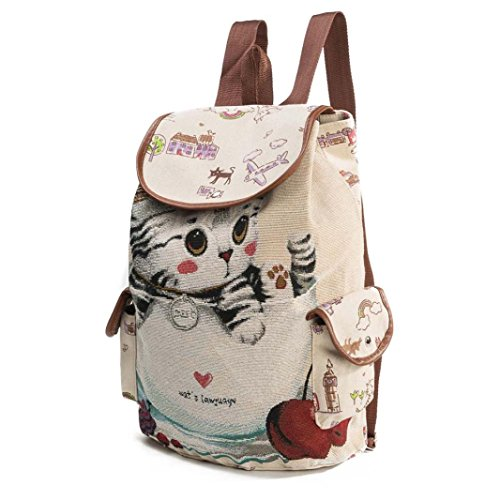 Pocciol Women Favorite Bags, Women Cute Cat Canvas Soft Handle Drawstring Backpack Shopping Bucket Travel Bag