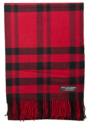 Buffalo Plaid Wool (100% Cashmere Scarf Elegant Collection Made in Scotland Wool Buffalo Tartan Windowpane Check Plaid (Red))