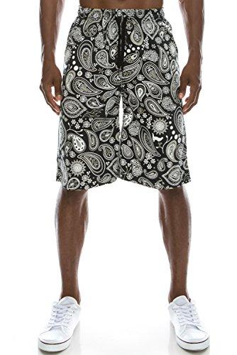 Paisley Mens Shorts (Mens Hipster Hip Hop Elastic Waistband PAISLEY Pattern Printed Shorts Large)