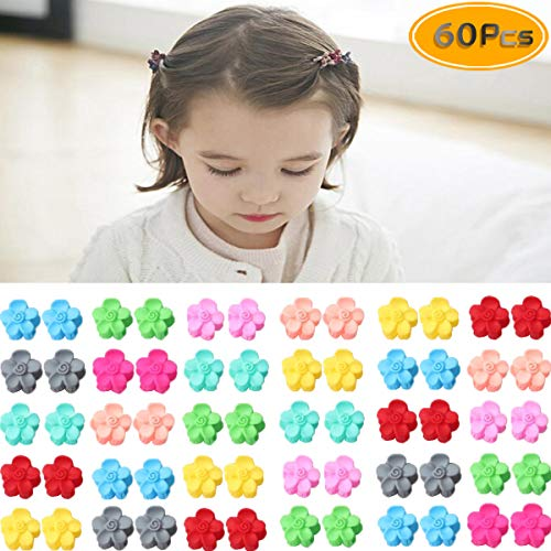 Mini Flower Claws - Twdrer 60PCS Colorful Mini Hair Clips, Bangs Mini Claw Hair Pin, Mini Claw Hair Clips Mini Bulk Small Hair Clips Assorted Color Mini Hair Claws For Teen.(Flower, Color Random)